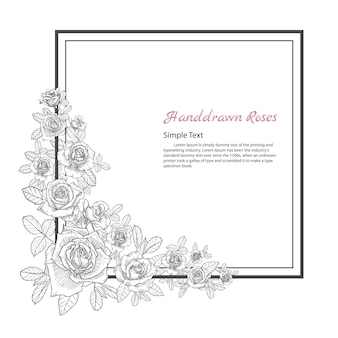 ローズの花のフレーム。白い背景に描く、スケッチする。