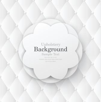 Flower frame on white leather upholstery background