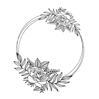 Flower frame outline double round.floral circle border botanical drawing style.