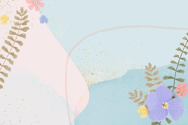 Flower frame on pastel blue