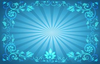 Flower Frame Sunburst Background