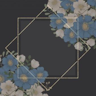 花フレームテンプレート-青い花