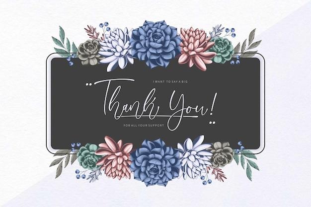 꽃 프레임 감사 카드 선물 템플릿