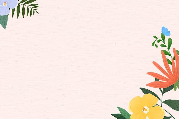 Flower frame vector on texture background
