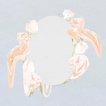 꽃 프레임 벡터, 흰 장미 추상 미술