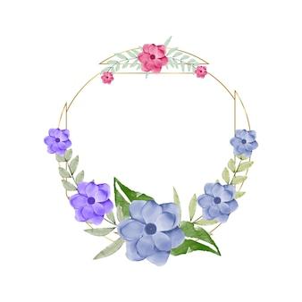 花フレーム水彩ベクトルセットフローラリース水彩花とゴールドフレーム