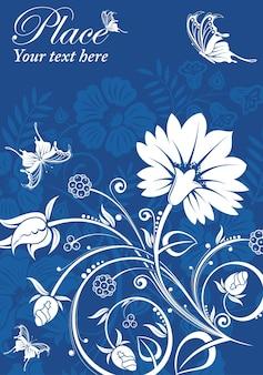 蝶と花のフレーム、デザインの要素、ベクトルイラスト