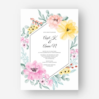 Flower frame with color pastel pink yellow for wedding invitation