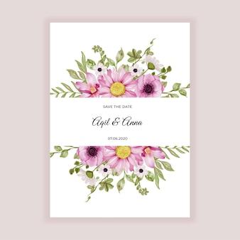 Цветочная рамка с нежно-розовыми цветами и зелеными листьями акварель