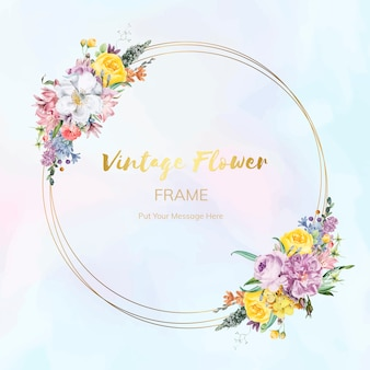 Flower framed badge