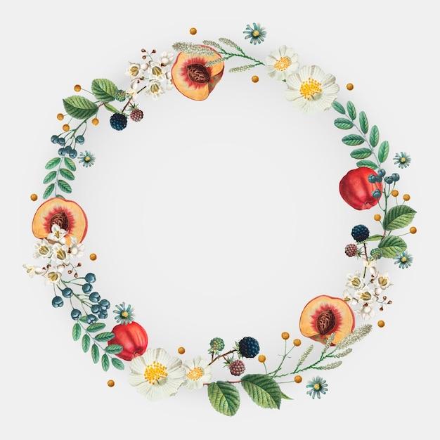 Vettore di cornice decorata con fiori e frutta