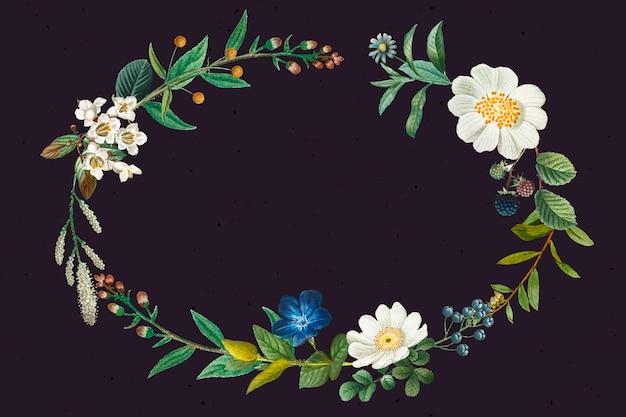 Vettore di cornice di fiori e frutta con spazio di progettazione