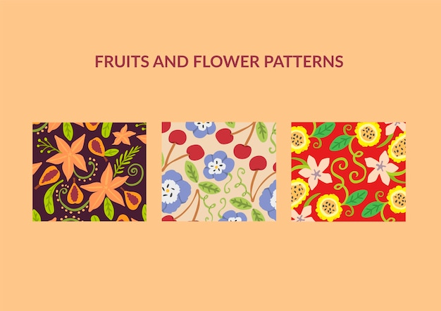 Flower and fruits patterns