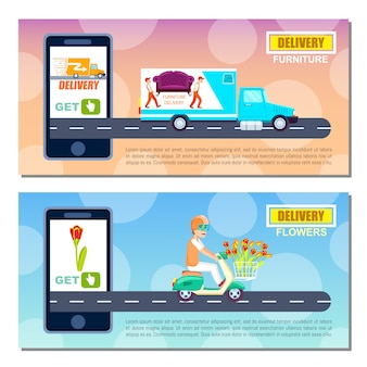 Flower and furniture delivery service banner template set