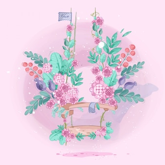 Flower garden on cute swings. vector illustration