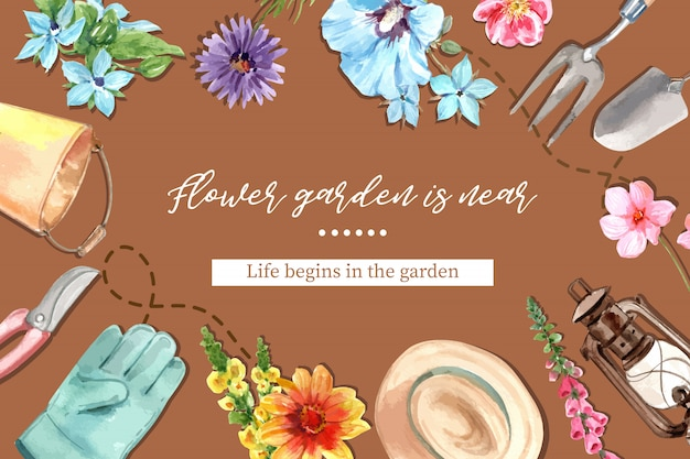 Flower garden frame with lantern, hibiscus syriacus, daisy watercolor illustration. Free Vector