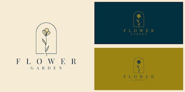 꽃 정원 로고 일러스트 템플릿 디자인