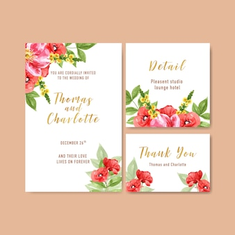 Flower garden wedding card with anemone, poppy flower watercolor illustration.