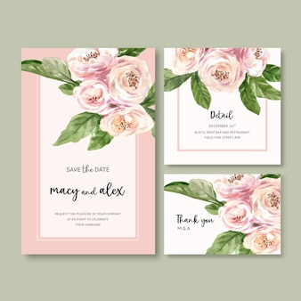 Flower garden wedding card with climbing rose watercolor illustration.