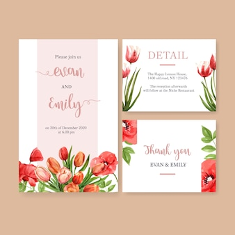Flower garden wedding card with tulips, poppy flowers watercolor illustration.