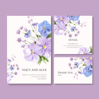 Flower garden wedding card with vinca watercolor illustration.