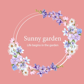Flower garden wreath with daisy, vinca, orchid, dianthus watercolor illustration.