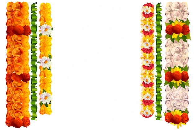 Flower garland rose and leaves for indian traditional holiday ugadi