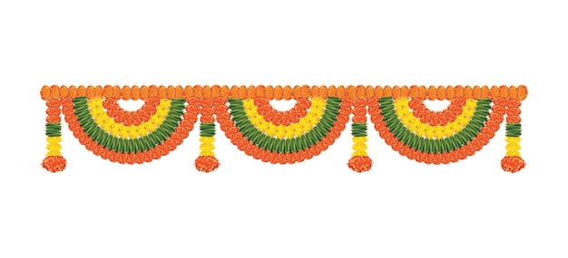 Flower garland or toran or bunting vector it is to be tied at door home entrance on diwali