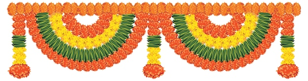 Flower garland vector it is to be tied at door or home entrance on diwali or any religious festival