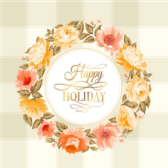 Flower garland with happy holiday text.