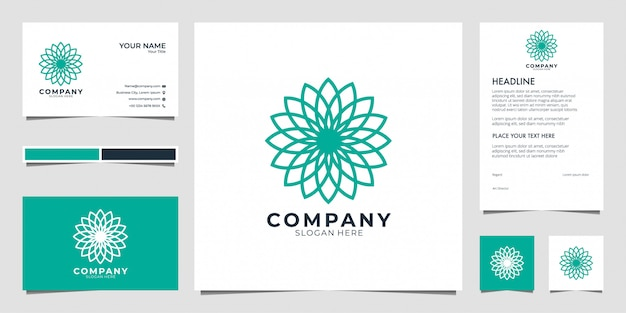 Цветочная геометрия логотип. логотипы могут быть использованы для спа, салона красоты, украшения, бутик. и визитка