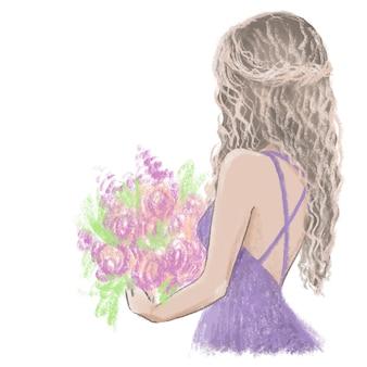 Flower girl hand painted illustration