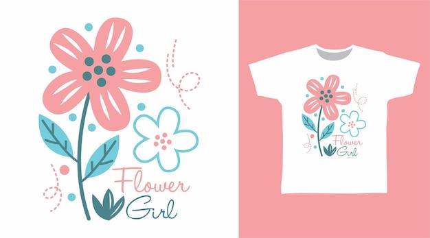 Цветочная девушка типография для дизайна футболки