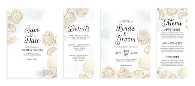 수채화 잎 장식으로 설정된 꽃 금 결혼식 초대 카드 템플릿
