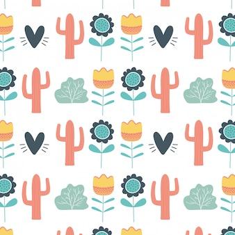 花の心とサボテンのシームレスなパターンの壁紙デザインベクトルイラスト