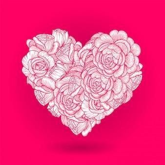 Flower heart. drawing beautiful rose flowers.