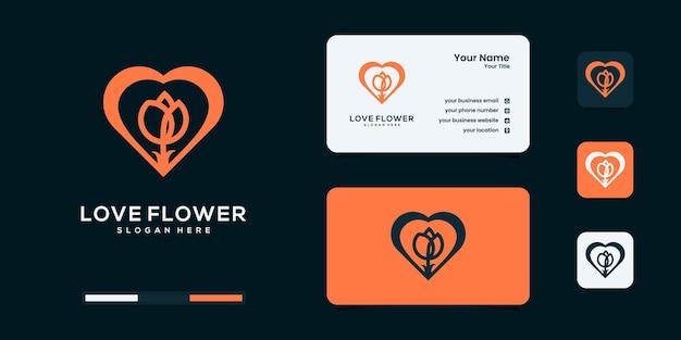 Flower and heart logo design template