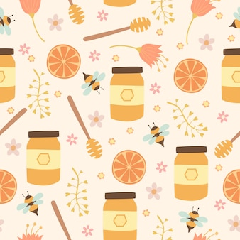 Flower honey seamless pattern