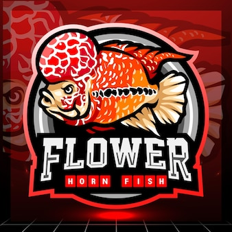 Цветочный рог рыба талисман киберспорт дизайн логотипа