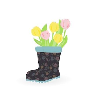 白で隔離の花のアイコンフラットセット。花瓶にさまざまな花。スプリングセット