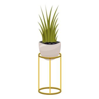 Цветок в горшке. цветок на подставке для домашнего или офисного интерьера. иллюстрация мультяшный плоский стиль изоляции.
