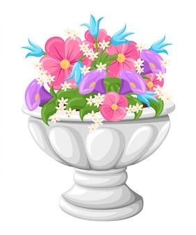 식물 재배를위한 세라믹 회색 화분에 꽃. 흰색 배경에 고립 된 아이 소메 트리에서 항아리.