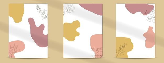 エレガントなラインアートスタイルの自由奔放に生きるポスターの花