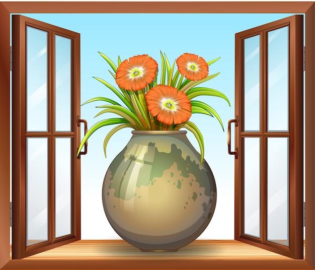 窓の近くの花瓶を花します。