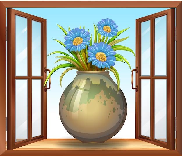 窓の近くの花瓶の花