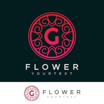 Flower initial letter g logo design