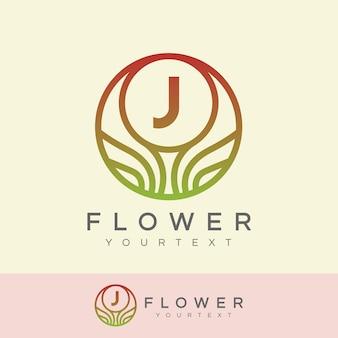 Flower initial letter j logo design
