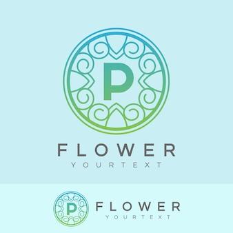Flower initial letter p logo design