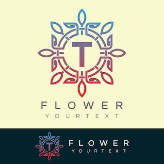 Flower initial letter t logo design