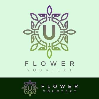 Flower initial letter u logo design